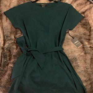 Dark Green Tie Waist T-Shirt Dress